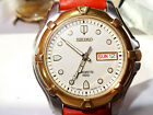 VINTAGE 41mm SEIKO Sports 100 Mens 2-Tone Day Date Watch 7N43-8229