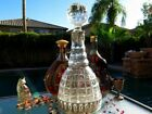 RARE OLD STERLING SILVER CRYSTAL GLASS DECANTER PORTUGAL TOPAZIO MUSEUM LEVEL