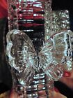 GORGEOUS Crystal Glass Covered Butter Dish BIG BUTTERFLY HANDLE New in Box