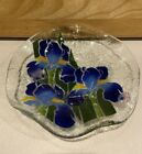 PEGGY KARR FUSED ART GLASS BLUE IRIS 8 3 8 BOWL Signed Ruffled Edge