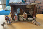 6 Piece Fontanini Nativity Set Plus Moss Covered Stable Excellent Condition