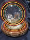 SET OF 6 ANCHOR HOCKING BANDED RINGS 8 IN PLATES VIBRANT CLEAN SHAPE