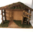 Vtg Wood Christmas Creche Nativity Stable Large Lighted Manger Primitive 23 x 16