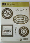 Stampin UP Hostess HOLLY JOLLY LAYTER Red Rubber Stamps Set of 6 Retired NEW