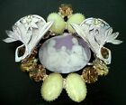 Large Big Vintage Glass Cameo Yellow Rhinestone Lady Child Brooch Pin 3 5 8