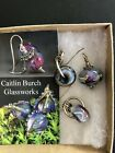 Caitlin Burch Artist Hand Blown Glass earrings and Pendant Purple Blues swirls