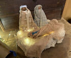 Very Primitive Nativity Lot Made Of Early Blue Quilts  Quilt Batting Handmade