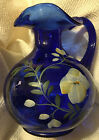 Stunning 7 Fenton Royal Blue Floral Pitcher Signed Hand Painted