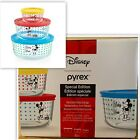 NEW DISNEY PYREX Mickey Mouse 6 Piece Glass Storage Bowls  Lids SOLD OUT NWT