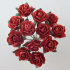 Mulberry Paper Rose Deep Red Small 15mm With Wire Green Bendy Stem