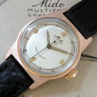 Mens 1940s Mido Multifort 14k ROSE GOLD Capped Super Automatic Swiss Made Watch