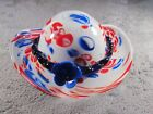 Stunning Vintage Murano Italian Blown Art Glass Hat Bowl Red White Blue Gorgeous