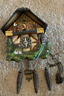 NICE WORKING BLACK FOREST GERMAN ANIMATED MUSICAL SAWMILL CHALET CUCKOO CLOCK!