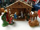 Vintage 12 Piece Paper Mache Nativity Set Creche GERMANY