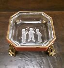 Vintage Czech Glass Crystal Intaglio Salt Cellar Pin Dish Ashtray Brass Footed