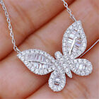 Charm Butterfly Necklace 925 Silver White Sapphire Pendant Chain Women Jewelry