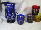 Hand Made Hand Cut Glass Ware Hungary Pitcher + 5 Glasses Smithsonian Inst