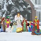 Large Deluxe Super Expanded Nativity Scene Metal Outdoor Christmas Decor 10 PC