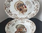 Williams Sonoma Plymouth Turkey Serving Bowl and Platter Thanksgiving Set 2