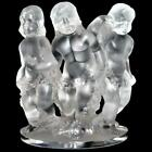 Lalique Frosted Crystal France Three Cherubs LUXEMBOURG 7 3 4 tall