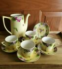 Vintage Nippon Tea Set Cups Saucers China Hand Painted Purple Violets Gold Trim
