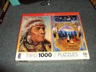 2 1000 Piece Jigsaw Puzzle Sealed Box Ceaco 18  x 25  Native Portraits AGE 12