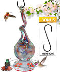 Hanging Hummingbird Feeder Thick Glass Neck Gourd Colorful Flower Ports 16 fl oz
