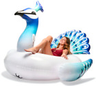 Floatie Kings Gigantic Peacock 6 Ft Pool Float Kids Adults Inflatable Handles