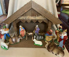 Vintage Christmas Nativity Wood Manger Creche Germany German