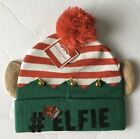 #Elfie Christmas Elf Beanie Hat NEW Holiday Bells One Size Fits Most Pom Striped