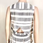Madewell Overlap Back Layer Dress Size 4 Chambray Linen Cotton Striped A line