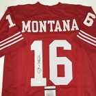 Autographed Signed JOE MONTANA San Francisco Red Football Jersey JSA COA Auto