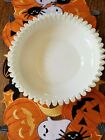 Vintage Fenton Silver Crest Milk Glass Large 10 1 2 Footed Ruffled Shallow Bowl