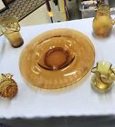 Amber Glass Lot Dish 2 Pitchers And 2 Vases