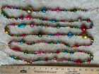 9 Antique Multi Color Geometric Lg Mercury Glass Bead Xmas Feather Tree Garland