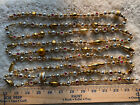 9 Antique SILVER GOLD Geometric Lg Mercury Glass Bead Xmas Feather Tree Garland