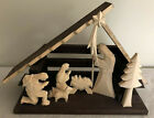 Hand carved One Piece Wood Nativity Set Creche Christmas Dark Stain Rustic Folk