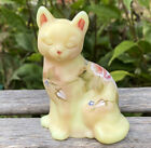 Fenton OOAK Cat Floral Hand Painted Burmese Satin Glass Pink Flowers Rose Signed