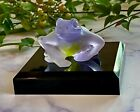 NEW Daum Lilac Tree Frog Mom  Baby with Free Display Pedestal  Box Signed Mint