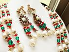 MIRIAM HASKELL RED GREEN GLASS  BAROQUE PEARL NECKLACE  EARRINGS SET SIGNED