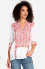 Johnny Was Whisper Tunic Top Red Embroidered White Eyelet Size Large Button