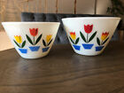 Fireking Tulip Pattern Mixing Bowl Set 2