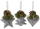 Tree Heart Star Vintage Inspired Tin Metal Ornament Set 3 Christmas 4 Ganz