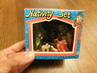 Vtg Mid Century Nativity Set in Box Plastic Glitter Hong Kong Retro Mini in box