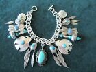 Sterling Silver and Turquoise Charm Bracelet with Native American Charms