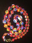 Vintage Venetian Murano Millefiori Art Glass Beads Necklace 24 LONG 12 Drop