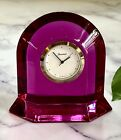 Baccarat French Crystal Vega Peony Desk Clock New Unused Signed Authentic