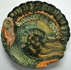 Thanksgiving Turkey platter made  hand painted in Italy embossed ceramic 11