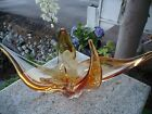 Mid Century Modern Free Form Stretch Art Glass Amber Clear Chalet Murano Bowl