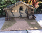 Vintage 29 L Christmas Nativity Manger Creche Stable Wood Stone Moss Plaster
